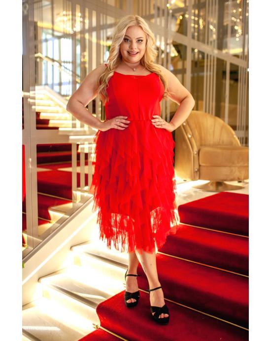 Szałowa suknia Q-04 z tiulem na Wesele plus Size