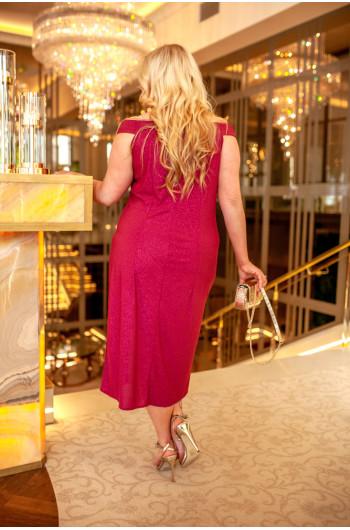 Stylowa suknia na ramiona Q-03 amarant