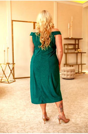 Przeurocza czerwona suknia Q-03 w kolorze butelkowej zieleni