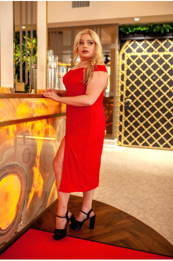Zniewalająca czerwona suknia plus size na wesele Q-03