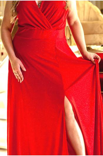 Zachwycająca czerwona suknia Plus Size Q-02 unikat